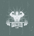 bodybuilder and barbell isolated emblem vector image vector image