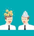 bright idea and junk idea in businessmen head vector image vector image
