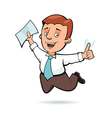 Businessman holding a sheet of paper and jumping vector image