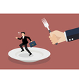 Businessman run away from big hungry man vector image vector image