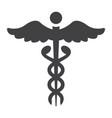 caduceus glyph icon medicine and healthcare vector image vector image