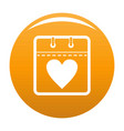 calendar valentine day icon orange vector image vector image