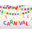 carnival greeting card with colorful flags vector image