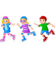 cartoon kid playing roller skates vector image
