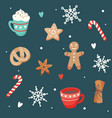 christmas pattern with cute cups and ginger vector image vector image