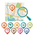 City map abstract background with set of various vector image