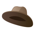 classic brown hat isolated on white background vector image vector image