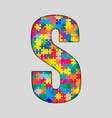 Color Puzzle Piece Jigsaw Letter - S vector image vector image