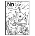 coloring book colorless alphabet letter n numbat vector image vector image