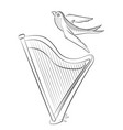 coloring book with the harp and swallow of a vector image