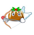 cupid character traditional christmas pudding on vector image