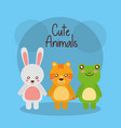 cute animals rabbit tiger and frog baby friendly vector image