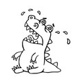 cute crying dragon vector image vector image