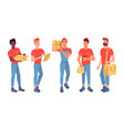 delivery couriers isolated set with parcel boxes vector image vector image