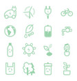 eco concept green thin line icon set vector image