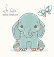 elephant with butterfly cute animal drawings vector image vector image