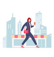 female worker walking through city vector image