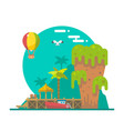 Flat design of Tapu island at Phang nga Thailand vector image vector image