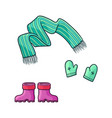 flat girl kid outfit apparel set vector image vector image