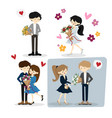 flat happy loving couple with bouquet for vector image vector image