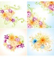 Four floral designs vector image