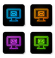 glowing neon computer monitor and envelope new vector image vector image