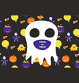 halloween invitation card with big ghost and text vector image vector image