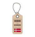 hang tag made in denmark with flag icon isolated vector image
