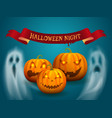 happy halloween poster with ribbon ghost vector image vector image