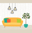 interior room with a yellow sofa lamps vector image vector image