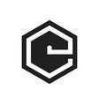 letter e hexagonal negative space geometric logo vector image vector image