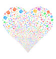 library building fireworks heart vector image vector image