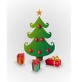 Merry Christmas pine tree greeting card vector image vector image