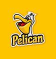 modern pelicat mascot logo vector image vector image