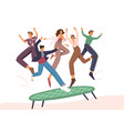 people jumping on trampoline flat vector image vector image
