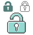 pixel icon unlocked padlock in three variants vector image