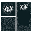 posters and seamless pattern bbq grill menu vector image vector image