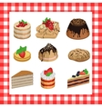 set sweet appetizing cakes on a red plaid vector image