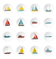 Ship and boat icons set flat style vector image vector image
