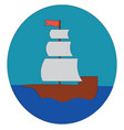 simple cartoon a sailing ship on blue water in vector image vector image