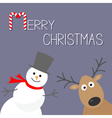 Snowman and deer Violet background Candy cane vector image vector image