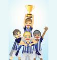 sport kids lifting trophy vector image