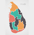 sri lanka map with states and modern round shapes vector image