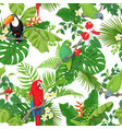 tropical birds and flowers pattern vector image vector image