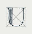 u letter logo with construction grid lines