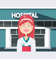 woman doctor with hospital building on background vector image vector image