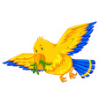 Yellow bird eating little worms vector image vector image
