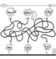 paths maze with kids and pets coloring book vector image