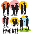 set silhouettes friendship vector image