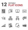 12 school icons vector image vector image